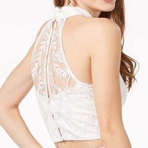 White Sleeveless Lace Crop Top